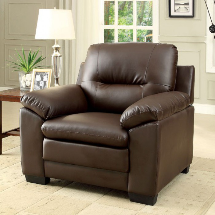 CM6324BR-CH Parma brown padded leatherette chair