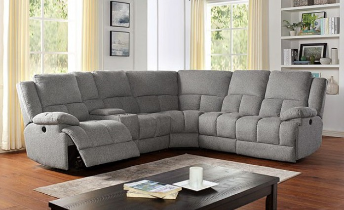 CM6345 6 pc Darby home co lynette gray fabric sectional sofa with power motion recliner ends