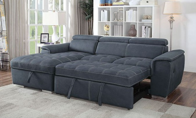 CM6514BL 2 pc Patty blue fabric sectional sofa set with pull out sleep area