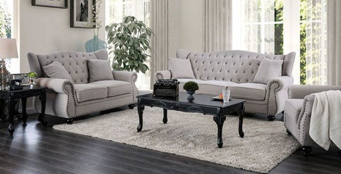 CM6572GY 2 pc Ewloe light gray linen like fabric sofa and love seat set