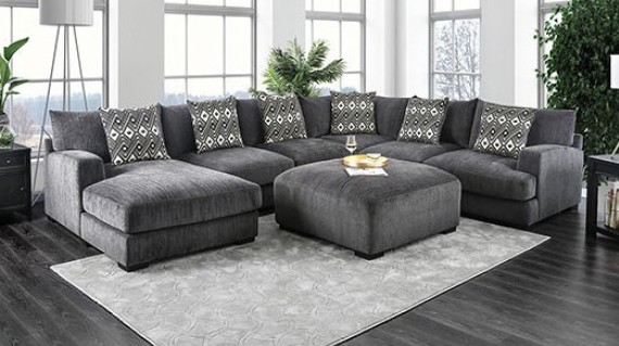 Cm6587 5 Pc Laude Run Ruthanne Kaylee Gray Chenille Fabric Sectional Sofa Set With Chaise