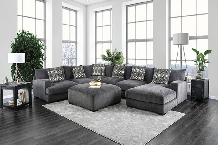 CM6587-RC 5 pc Latitude Run Ruthanne Kaylee gray chenille fabric sectional sofa set with right chaise