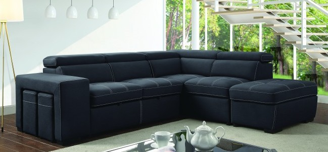 CM6603 2 pc Athene graphite fabric sectional sofa set with pull out sleep area