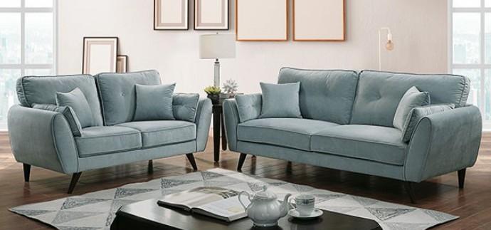 CM6610 2 pc Phillipa light teal flannelette fabric sofa and love seat set