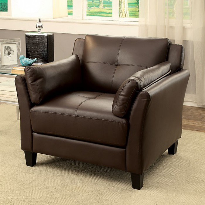 CM6717BR-CH Pierre brown leatherette accent chair