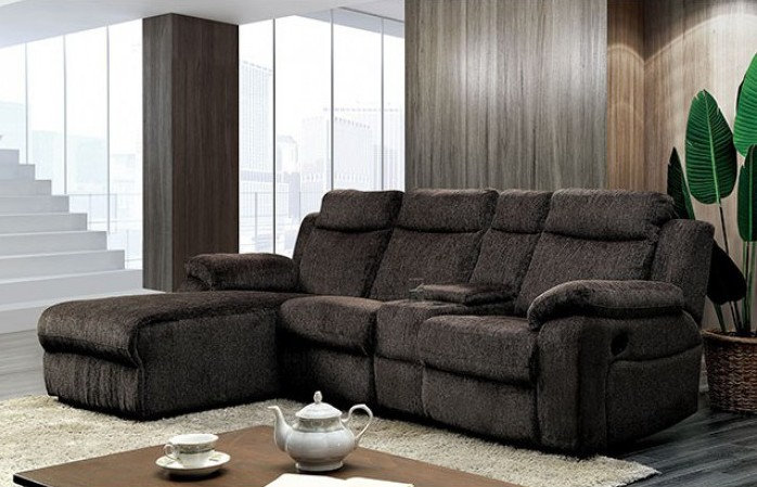 CM6771WG 2 pc kamryn brown chenille fabric sectional sofa with chaise and  recliner
