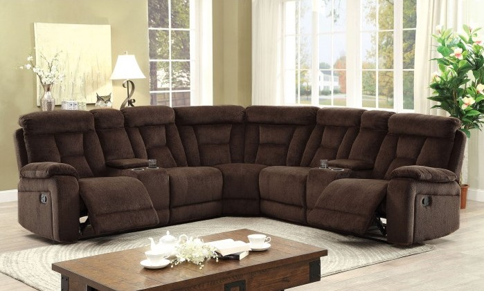 Surprising Cm6773Br 3 Pc Maybell Transitional Style Brown Chenille Fabric Upholstery Sectional Sofa With Recliners Home Interior And Landscaping Ologienasavecom