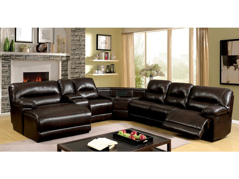 6 pc glasgow ii brown breathable leatherette table wedge sectional sofa with recliners on the ends