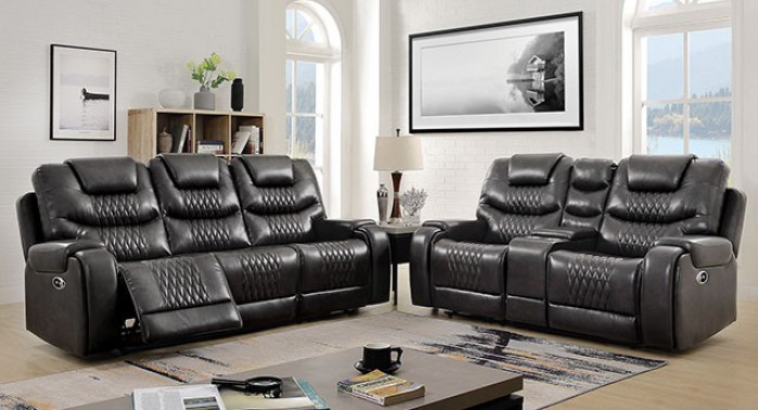 CM6894GY 2 pc Darby home co marley gray leatherette power motion sofa and love seat recliner ends