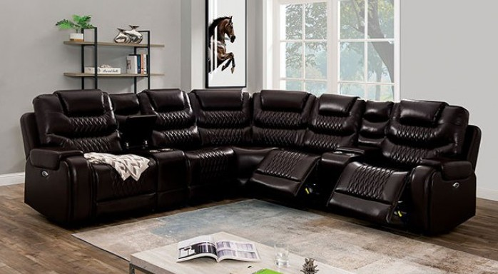 CM6895BR 7 pc Darby home co mariah brown leatherette sectional sofa with power motion recliner ends