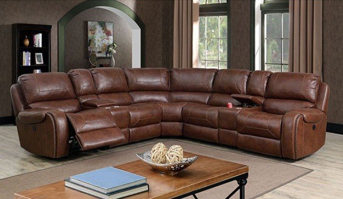 CM6951BR 3 pc Joanne brown breathable leatherette sectional sofa with recliner ends and center cup consoles