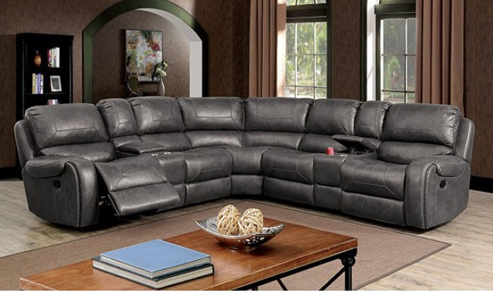 CM6951GY-PM 3 pc Joanne grey breathable leatherette sectional sofa with power recliner ends and center cup consoles