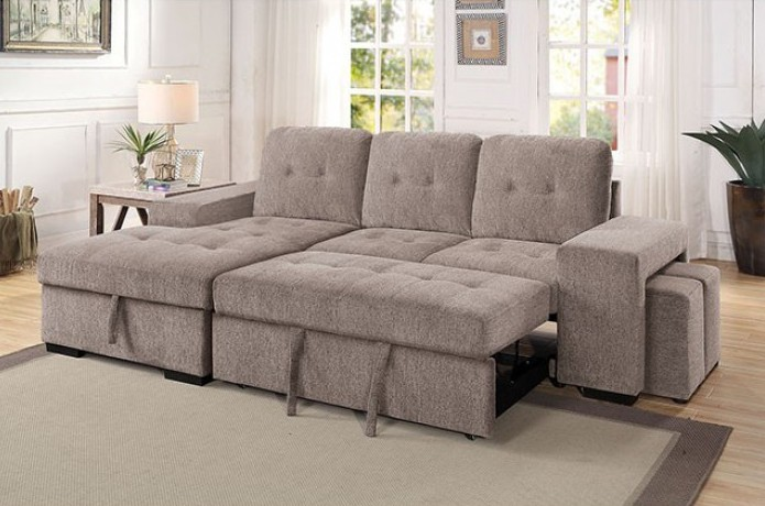 CM6959LG 2 pc Jamiya light gray fabric sectional sofa with storage chaise and pop up chaise sleep area and ottomans