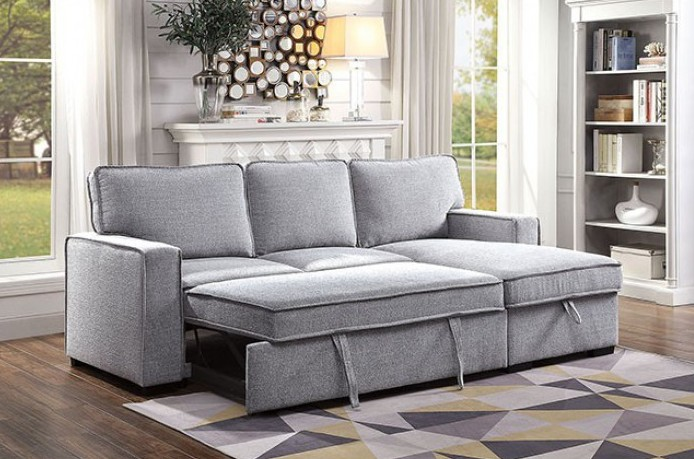 CM6964 2 pc Ines gray linen like fabric sectional sofa with reversible storage chaise and pop up chaise sleep area