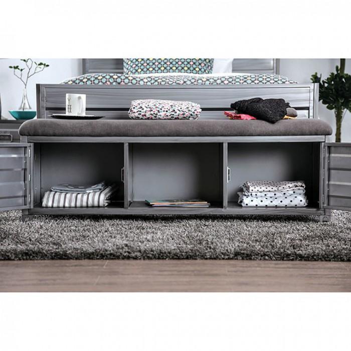 CM7075BN Mccredmond hand brushed silver industrial style metal storage bench