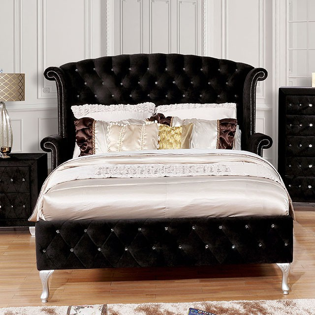 CM7150BK Rosdorf park neilsen Betria black padded and tufted flannelette queen bed set with nail head trim