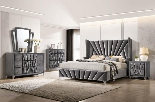 CM7164 5 pc Carissa gray fabric upholstered art deco style design queen bedroom set