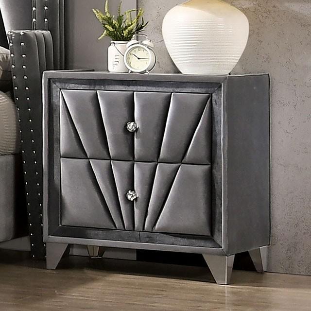 CM7164N Rosedorf park carissa gray velvet like fabric fully upholstered nightstand