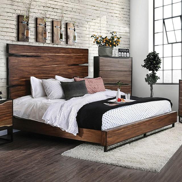 CM7363Q Foundry select savoie dark oak dark walnut split wood design headboard queen bed