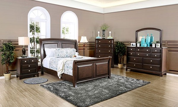CM7383 5 pc litchville collection brown cherry finish wood queen bedroom set