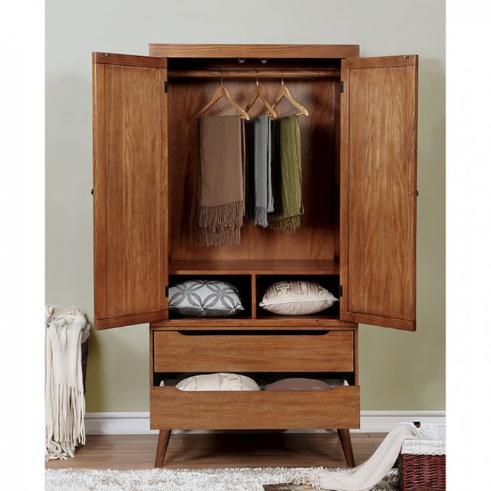 M7386A-AR Lennart mid century modern oak finish wood clothing armoire stand alone closet cabinet