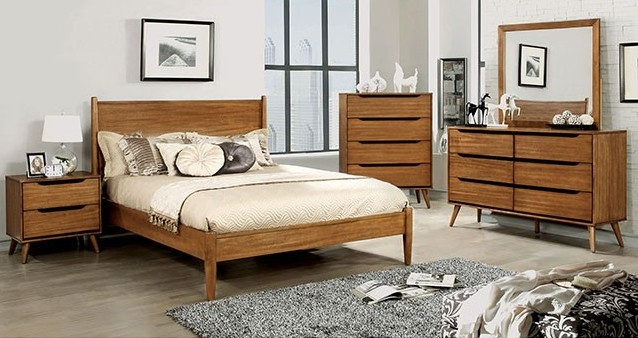 Cm7386a 5pc 5 Pc Lenhart Collection Mid Century Modern Oak Finish