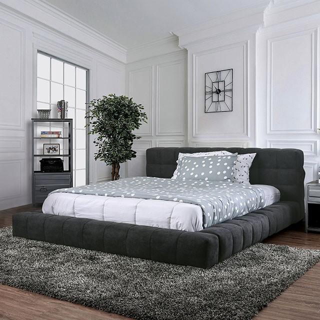 CM7545 Rosdorf park neilsen wolsey dark gray linen like fabric upholstered queen platform bed