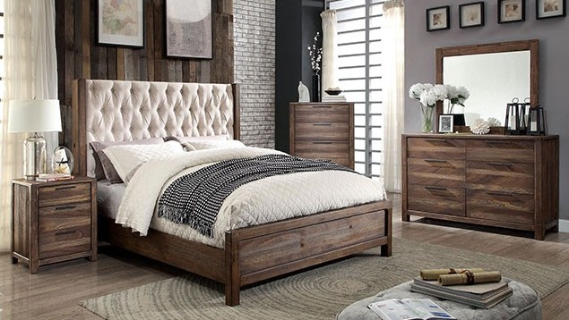 CM7577-5pc 5 pc hutchinson collection rustic natural tone finish wood queen bedroom set