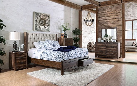 CM7577DR-5pc 5 pc hutchinson collection rustic natural tone finish wood footboard drawers queen bedroom set