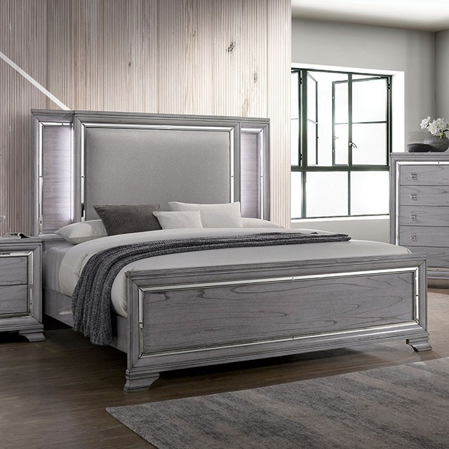 CM7579Q Rosdorf park alanis LED light gray padded and tufted headboard queen bed