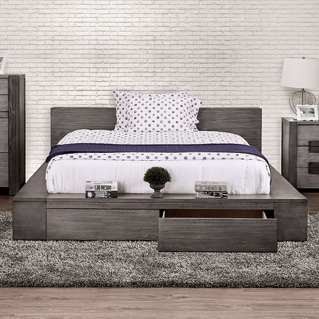 CM7629GYQ Loon peak janeiro transitional style rustic grey tone finish wood queen platform bed with drawers in the footboard