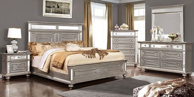 CM7673-Q-5PC 5 pc salamanca collection silver finish wood queen bedroom set