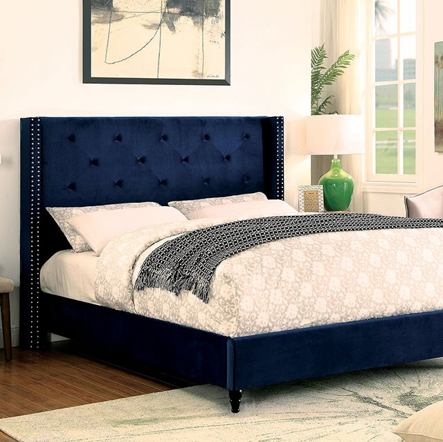 Delightful CM7677NV Anabelle Collection Navy Blue Fabric Upholstered And Tufted Tall  Queen Headboard Bed Frame Set