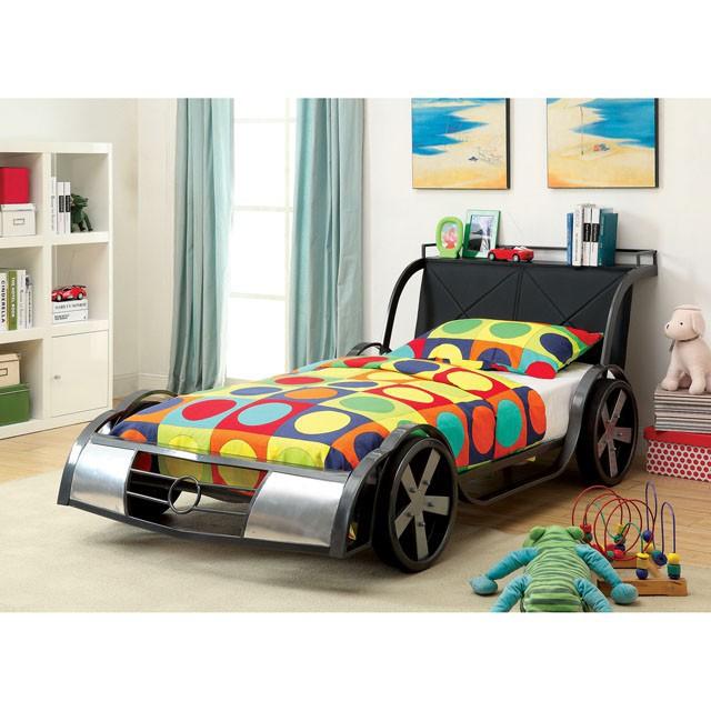 CM7946 Hokku designs GT racer racing car style design twin size kids bed silver and Gun metal finish