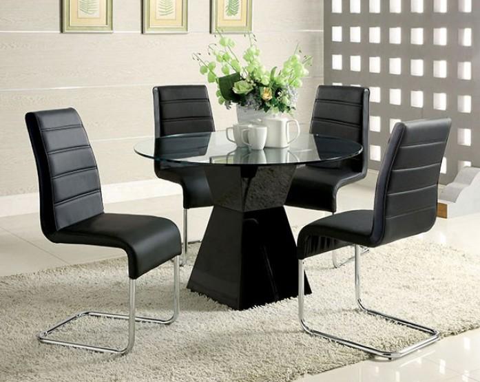 "CM8371BK-T-5PC 5 pc Orren ellis monaco mauna modern 45"" round glass table top black base dining table set"