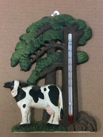 ct-1007 Cast iron cow and tree thermometer wall hanger