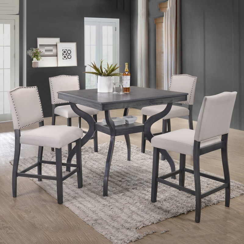5 pc Paulina collection antique gray finish wood counter height dining table set