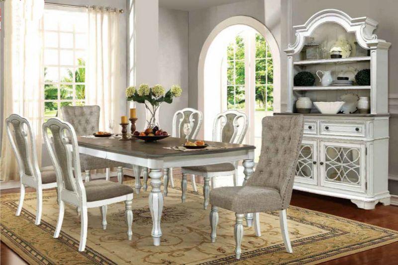 Mc Ferran D738 7pc 7 Pc One Allium Way, White Wood Dining Room Sets