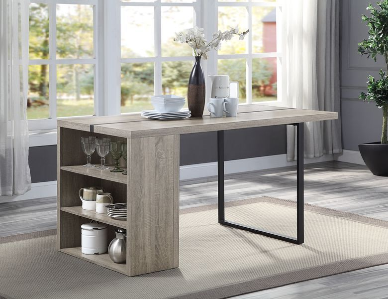Acme DN00401 Foundry select patwin weathered gray oak finish wood counter height dining table with shelf