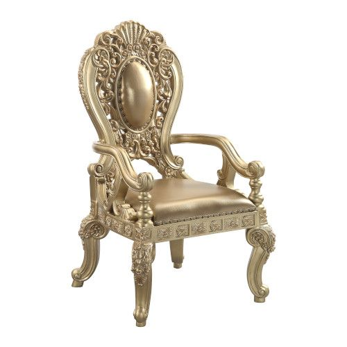 Acme DN00459 Set of 2 Astoria grand seville antique gold finish wood french inspired arm chairs