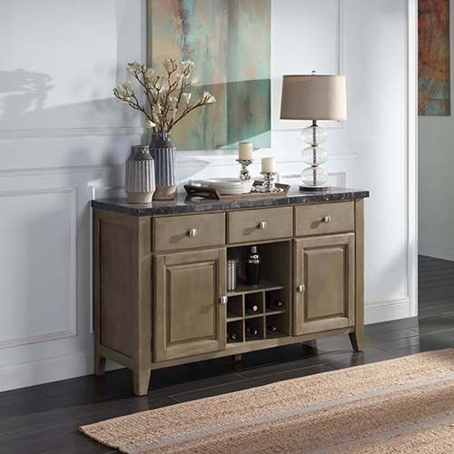 Acme DN00555 7 pc Gracie oaks charnell rustic oak finish wood marble top dining buffet sideboard server cabinet