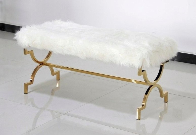 Best Master E08 Gold tone plated white faux fur bedroom entry bench