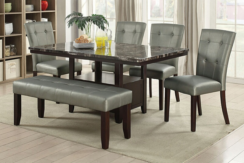F2460-1752-1753 6 pc Arenth II collection espresso finish wood faux marble top dining table set with bench