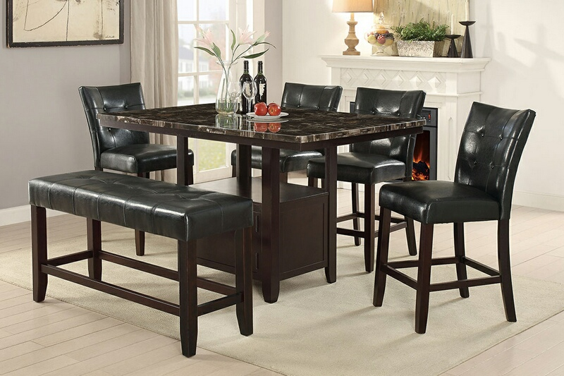 F2461-1754-1755 6 pc Arenth collection espresso finish wood counter height table with faux marble top dining table set