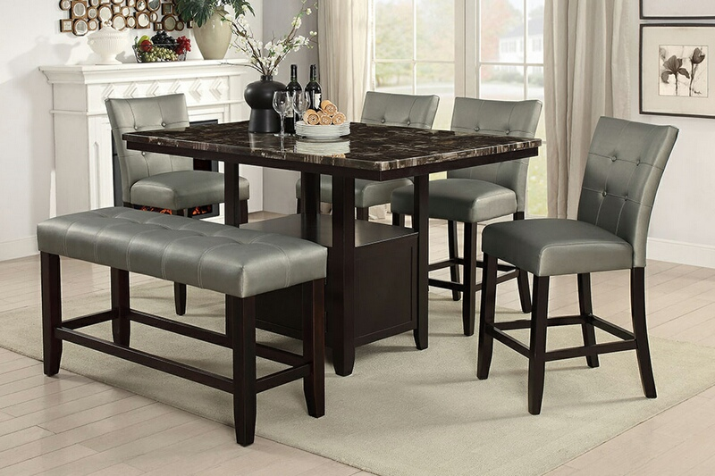 Poundex F2461 1756 1757 6 Pc Ah Ii Espresso Finish Wood Counter Height Table Faux Marble Top Dining Set