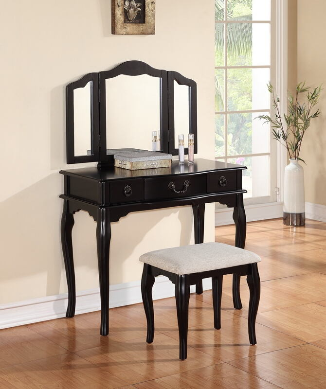 F4092 3 pc black finish wood make up bedroom vanity set with curved legs stool and tri-fold mirror