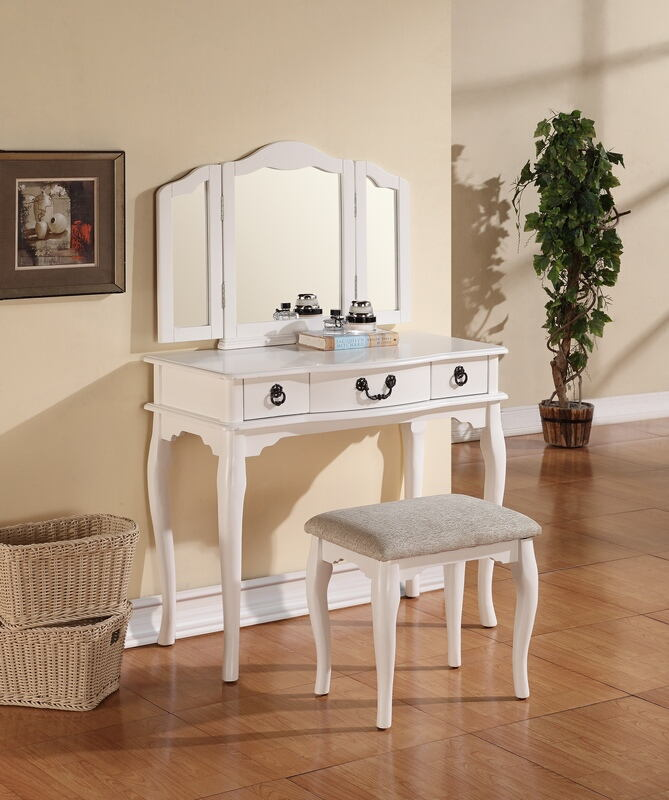 F4094 3 pc white finish wood make up bedroom vanity set with turned legs stool and tri-fold mirror
