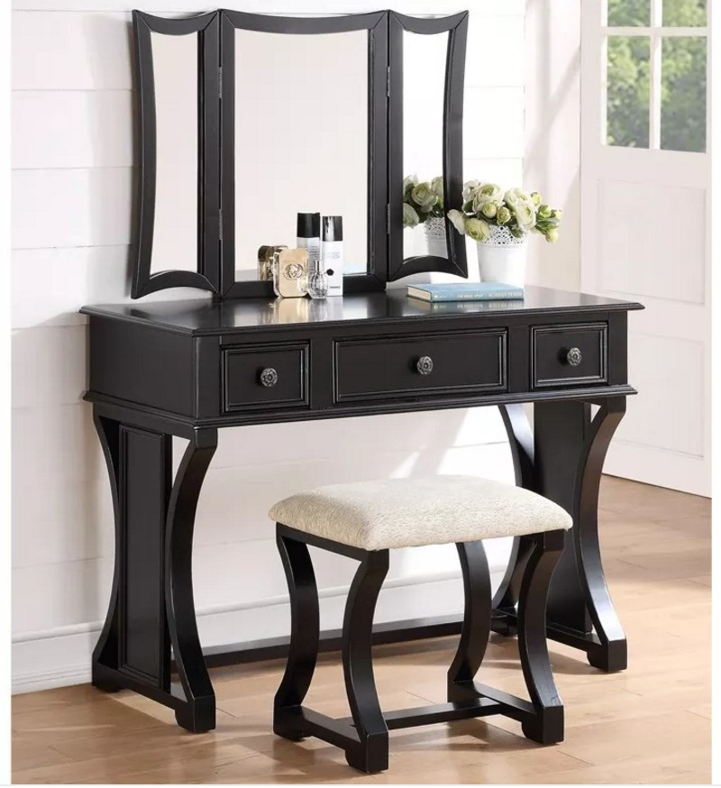 F4116 3 Pc Black Finish Wood Make Up Bedroom Vanity Set With Curved Pedestal Legs Stool And Tri Fold Mirror Three Drawers