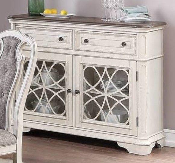 Poundex F6001 Adele maddison ii white two tone finish wood dining server buffet console