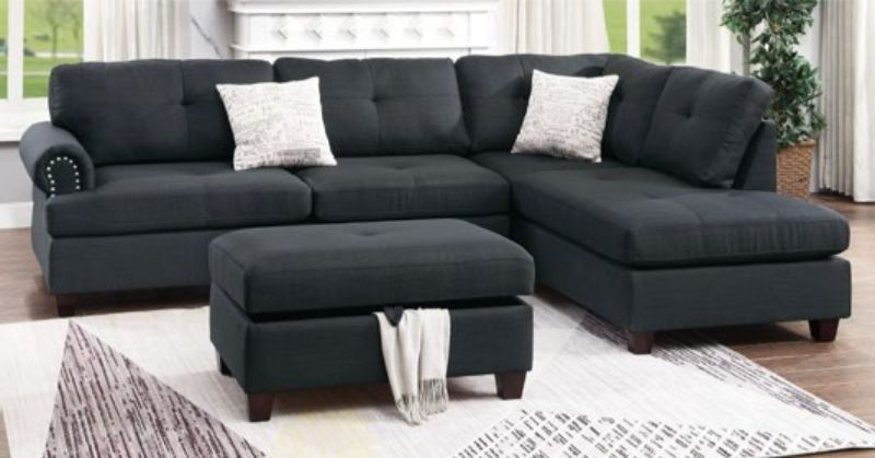 Poundex F6415 3 pc Martinique II black poly fiber fabric sectional sofa reversible chaise and ottoman